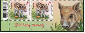 Belarus-2021-Wild-baby-animals-deer-squirrel-beaver-pig-8-stamps