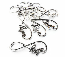 8 x Silver Plated Hope Charm Pendants Infinity Connector, Jewellery Craft, 39mm
