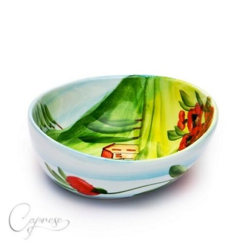 Bassano Ceramic Hand Painted Bowl Dish 20 cm Stripe Motif From Italy New