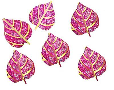 30 PINK /& GOLD GLITTER LEAVES 26mm RESIN EMBELLISHMENTS CHRISTMAS CARD CRAFTS