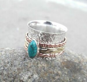 Turquoise-Solid-925-Sterling-Silver-Spinner-Ring-Meditation-statement-Ring-SR389