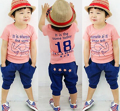 Baby Boy Kid Summer Short Sleeve T-shirt Tops Casual Clothes& Short Pants Outfit