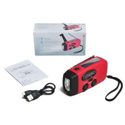 Emergency Solar Hand Crank Dynamo AM//FM//WB Weather Radio LED Flashlight Charger