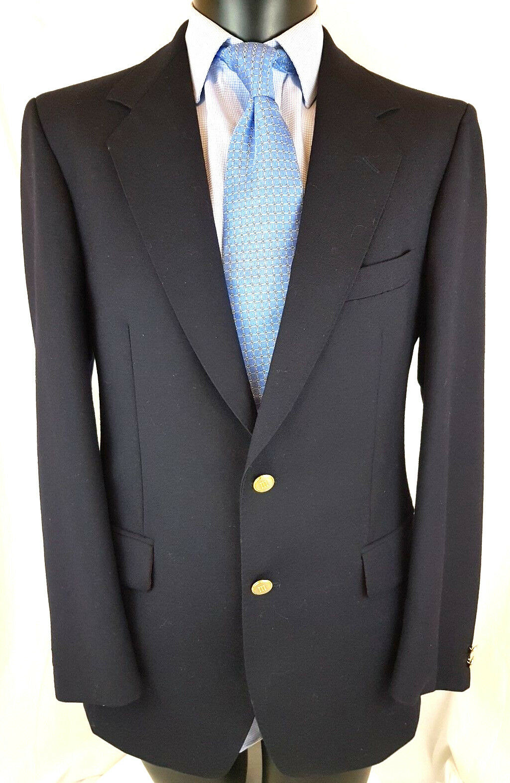 Magee Tailoring bluee Wool Blazer Sport Coat US 49 Dbl Vent V Good B42