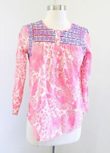 J Crew Bright Pink Floral Print Blue Embroidered Popover Blouse Top Size 0