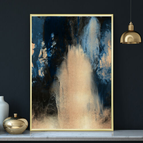 Deep Blue /& Gold Abstract Watercolour Painting Wall Art Print Poster A4 A3 A2 A1