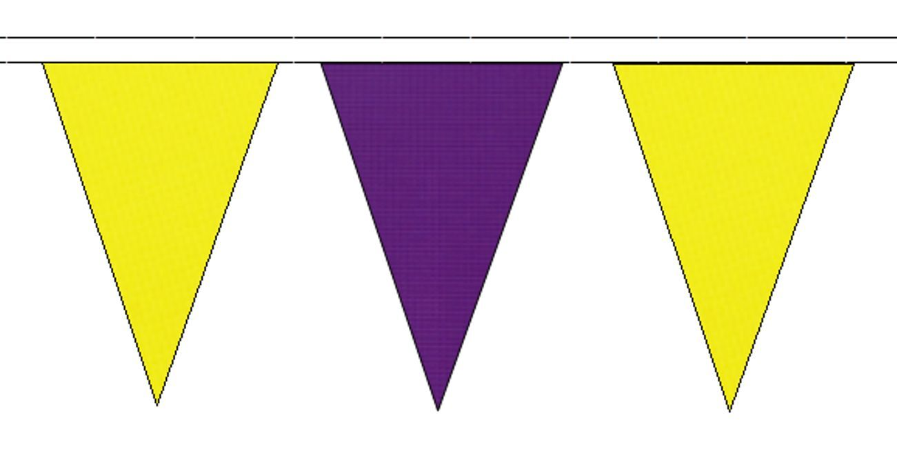 jaune & violet Triangular Flag Bunting - 50m with 120 Flags