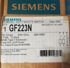 Siemens Gf223n 100 Amp 240 Vac 2p 3w Fusible Disconnect New