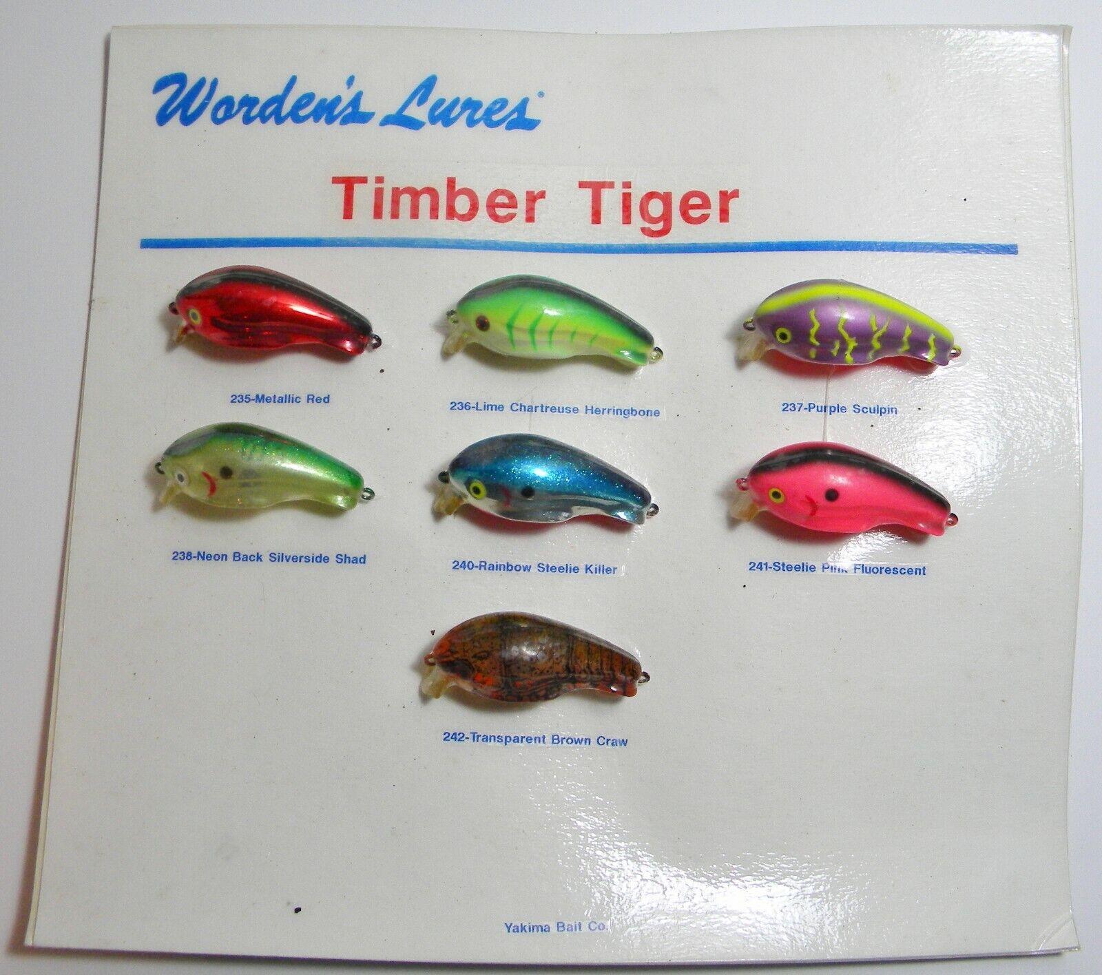 Worden's Lures Timber Tiger Salesman Display Card Yakima Bait Co.
