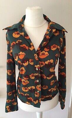 AnpassungsfäHig Original Vintage Damen Bluse Oberteil Blumenmuster Typisch 1960er Jahre Italien