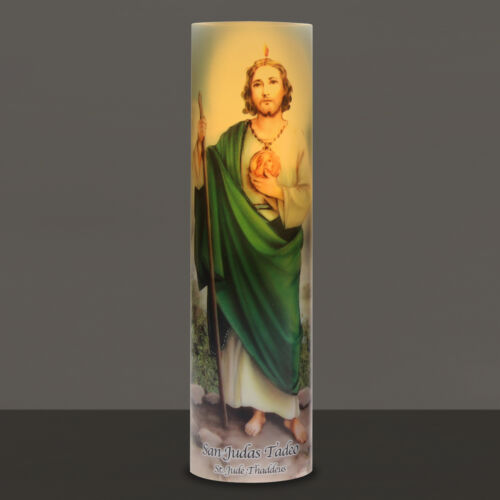 St Jude Devotional Religious Saint Jude LED Flameless Prayer candle with Timer