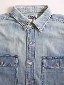 san francisco Los Angeles utsökt design Guess Jeans Denim Shirt Men's Large Blue Washed Distressed Vintage ...