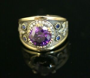 Turkish-Handmade-Jewelry-Sterling-Silver-925-Amethyst-Ring-Size-9