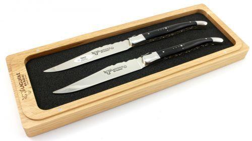 Laguiole en Aubrac LAGUIOLE Double cartes couteau à viande ébène 2 pièces Poli