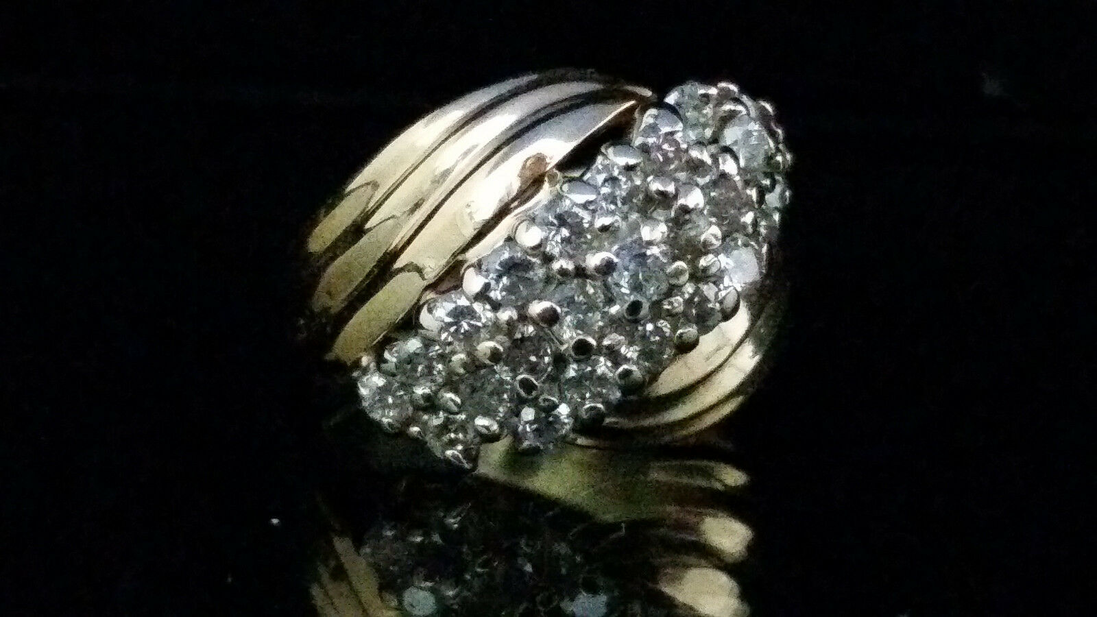 10k yellow gold diamond cluster ring.  Size 6