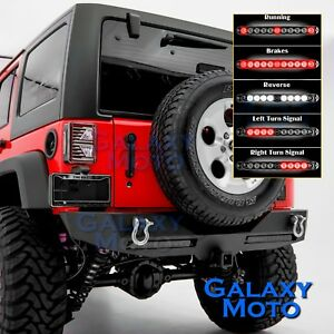 Black-Rear-Bumper-TWIN-RED-lens-LED-Tail-Light-for-07-18-Jeep-JK-Wrangler