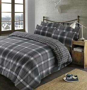 Brushed-Cotton-Tartan-Duvet-Cover-with-Pillowcase-Set-Aspen-Check-Flannelette