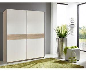 schwebet renschrank schiebeschrank kleiderschrank schrank eiche nb wei ebay. Black Bedroom Furniture Sets. Home Design Ideas