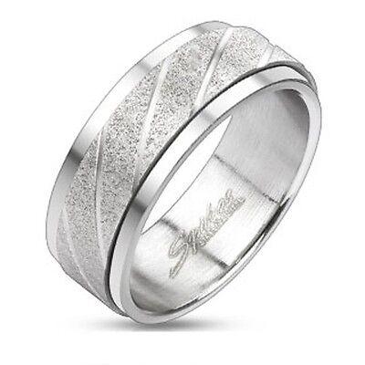 Stainless Steel Two Tone Wedding Engagemen Band Swirl Grooved Spinner Men's Ring