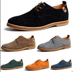 New-Mens-Casual-Dress-Formal-Oxfords-Flats-Shoes-Genuine-Suede-Leather-Lace-Up-Z