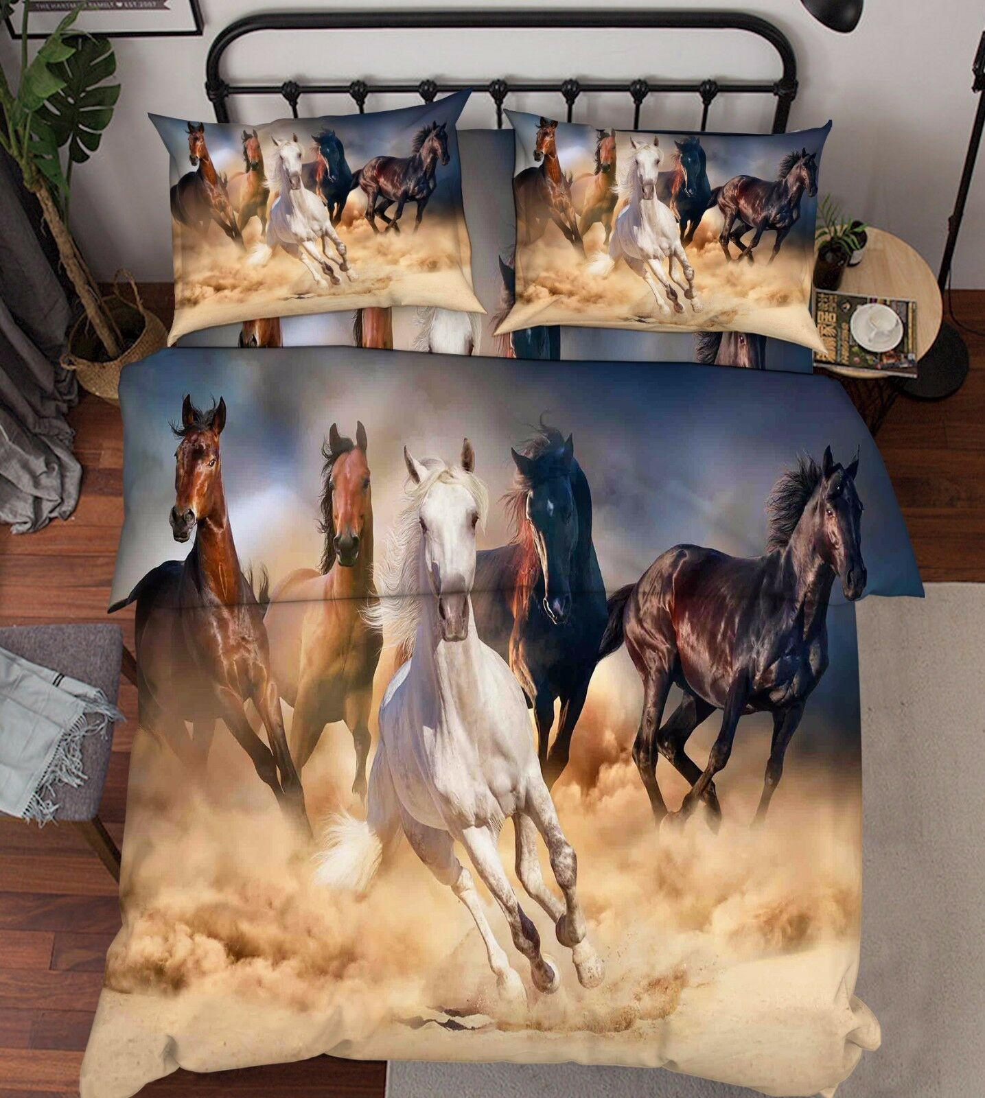 3D Three Coloree Horses 7 Bed Pillowcases Quilt Duvet Cover Set Single Queen AU