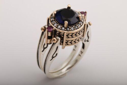 Turkish Bijoux réversible Round Sapphire Ruby Topaz 925 Sterling Silver Ring