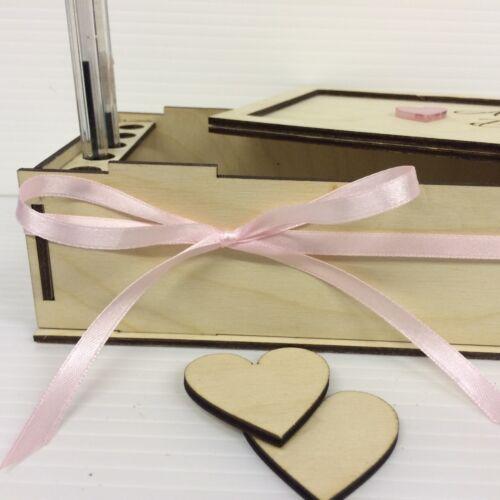 Personnalisé Gravé Contreplaqué Bouleau Cœurs Boîte de rangement pour Mariage Boîte De Dépôt