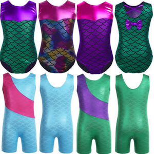 666ed3169 Kids Girls Sparkle Gymnastics Ballet Dance Leotard Sleeveless Fancy ...