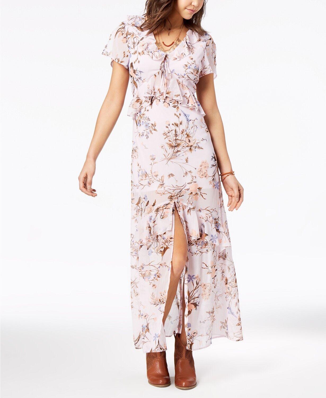 American Rag Rosa floral Printed Ruffle Maxi Dress Juniors Größe XS NWT