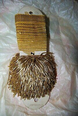 "1 yd SPECIAL PRICE Antique Vintage UNUSED French 8/"" Gold Metallic Bullion Fringe"