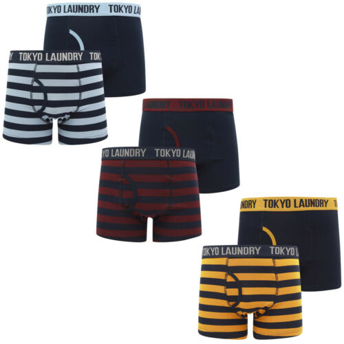 Tokyo Laundry Homme Nicholson 2 Twin Pack Boxer Shorts Set À Rayures Trunks Coton