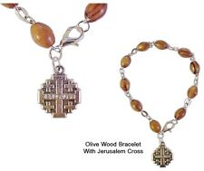 Olive Wood Rosary Bracelet from the Holy Land with Jerusalem Cross