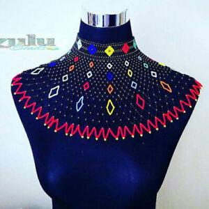 Afrikanische-Zulu-Typ-Perlen-Kragen-Schulter-Laenge-Halskette
