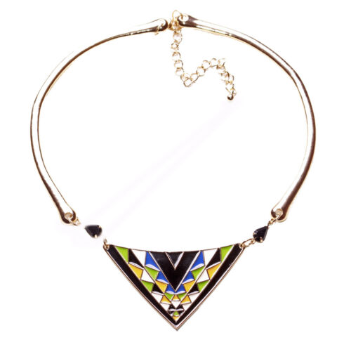 Rustic Inspired Statement Aztec Inspired Necklace Colorful Centre Piece Ns8