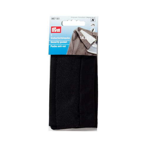 schwarz 967181 Prym Sicherheitstasche mit Reißverschluss einbügeln 14 x 20cm