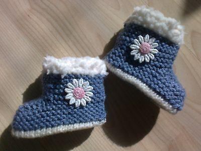 Bebé chicas Denim Color Mano knittedbooties-early Bebé, Recién Nacido, 0-3 Y 3-6 Meses