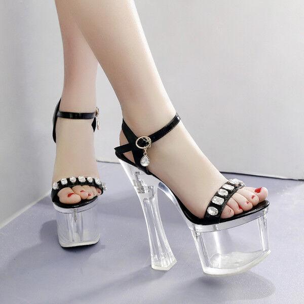 Sandalei Sandalei Sandalei eleganti stiletto eleganti Sandalei 18 cm nero plateau simil ... 84449a