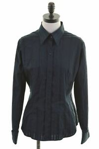 NEW-YORK-amp-COMPANY-Womens-Shirt-Size-12-Medium-Navy-Blue-Cotton-JP26