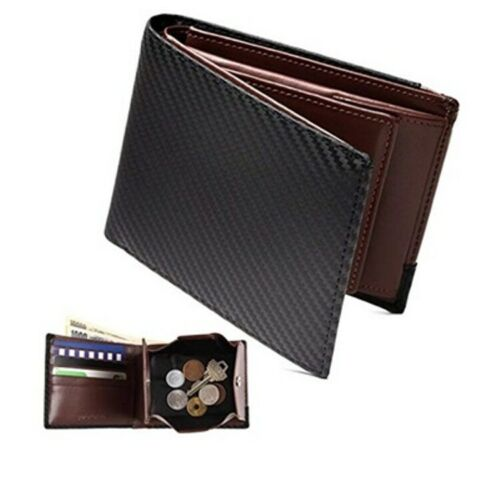 Japanese  Carbon Fiber Leather Wallet with Coin Compartment