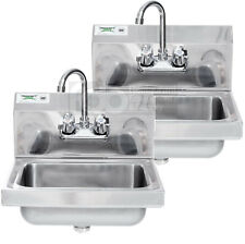 Two 17 X 15 Hand Wash Sink With Faucet Commercial Stainless Steel Wall Mount Kit