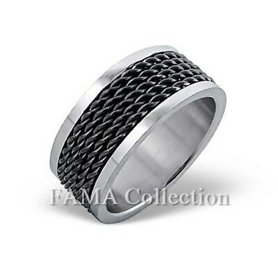 Stylish FAMA 9mm Stainless Steel Band Ring w// Black Twist Cable Inlay Size 9