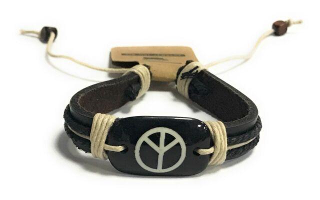 Mens Boys Handmade Leather Braided Surfer Peace Wristband Bracelet Bangle Wrap