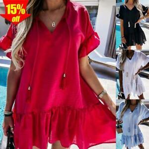 ✅ Damen Baggy Tunika Kleid Sommer Freizeitkleid Strandkleid Rüsche Minikleid