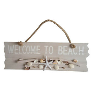 WHITEWASHED-WOODEN-039-WELCOME-TO-BEACH-039-SIGN-WITH-ROPE-HANDLE-SHELLS-DRIFTWOOD