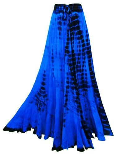 Langer blau lila Batik Rock bestickt Bauchtanz Hippie Boho S M L 34 36 38 40 42