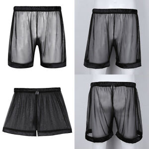 646c2cfafc Sexy Mesh Men s Club Wear Underwear See Through Boxer Briefs Shorts ...