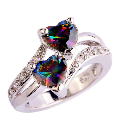 Engagement Heart Cut Rainbow White Topaz Gemstone Silver Ring Size 5-13 Lover