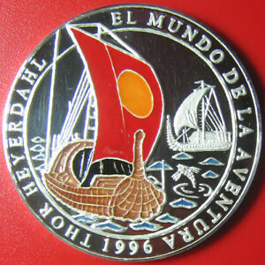 1996-SAHARAWI-1000-PESETAS-1oz-SILVER-PROOF-COLOR-BOATS-SHIP-FISH-THOR-HEYERDAHL