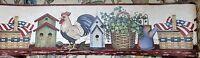 Birdhouses, Baskets & Roosters Vinyl Wallpaper Border