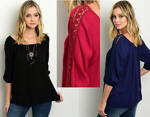 Chiffon crochet lace applique sleeve blouse tunic summer blouse